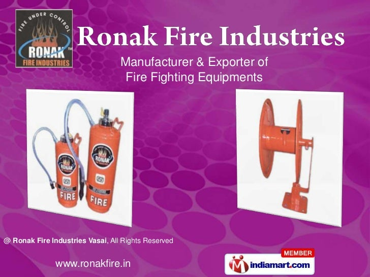 Manufacturer & Exporter of                                   Fire Fighting Equipments@ Ronak Fire Industries Vasai, All Ri...