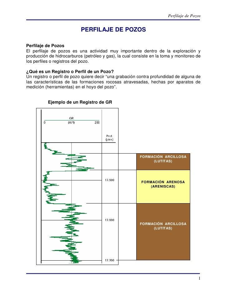 Perfilaje de Pozos                           PERFILAJE DE POZOSPerfilaje de PozosEl perfilaje de pozos es una actividad mu...