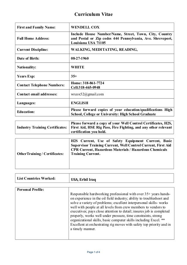 curriculum vitae first and family name wendell cox full home address include house number - Current Cv Format