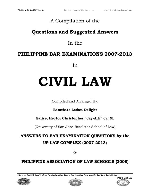 262939078 2007 2013 Civil Law Philippine Bar Examination