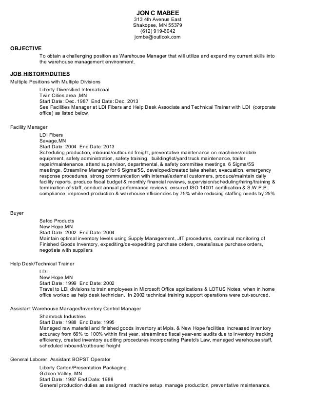 resume warehouse management 2014