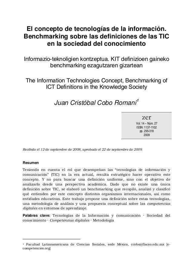 El concepto de tecnologías de la información. Benchmarking sobre las definiciones de las TIC en la sociedad del conocimien...