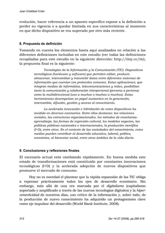 Juan Cristóbal COBO 312 Zer 14-27 (2009), pp.295-318 evolución, hacer referencia a un aparato específico expone a la defin...