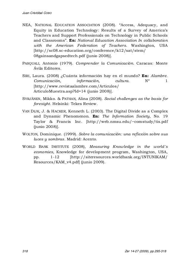 "Juan Cristóbal COBO 318 Zer 14-27 (2009), pp.295-318 NEA, NATIONAL EDUCATION ASSOCIATION (2008). ""Access, Adequacy, and Eq..."