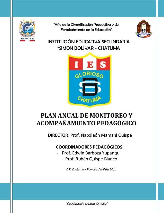 """""""Año de la Diversificación Productiva y del Fortalecimiento de la Educación"""" INSTITUCIÓN EDUCATIVA SECUNDARIA """"SIMÓN BOLÍV..."""