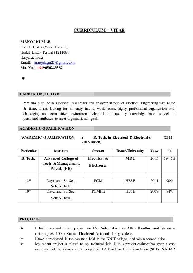 CURRICULUM – VITAE MANOJ KUMAR Friends Colony,Ward No.- 18, Hodal, Distt.- Palwal (121106), Haryana, India Email:- manojda...