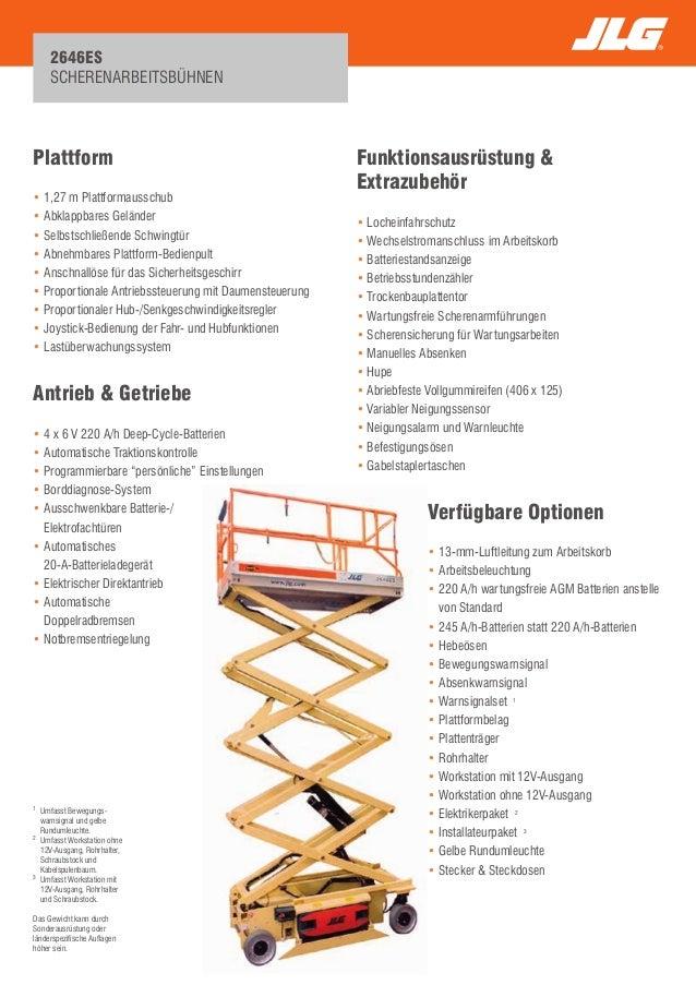 2646ES  SCHERENARBEITSBÜHNEN  Plattform  • 1,27 m Plattformausschub  • Abklappbares Geländer  • Selbstschließende Schwingt...