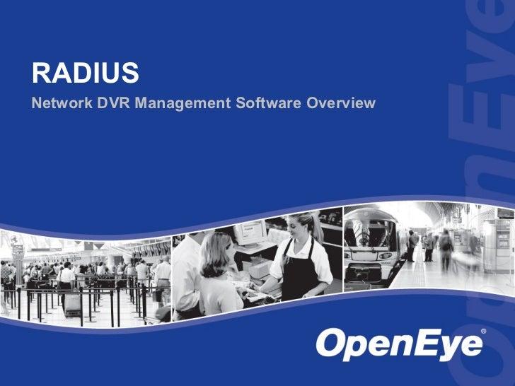RADIUSNetwork DVR Management Software Overview