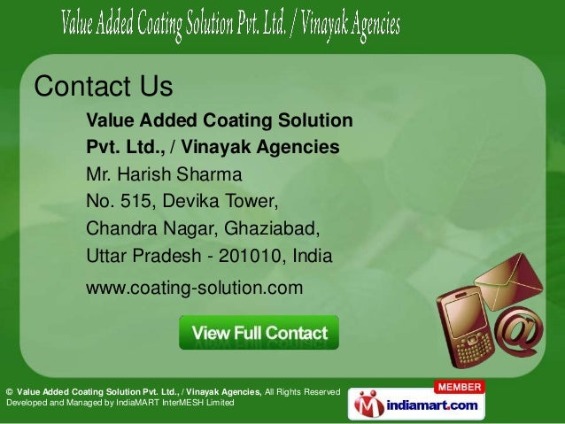 © Value Added Coating Solution Pvt. Ltd., / Vinayak Agencies, All Rights ReservedDeveloped and Managed by IndiaMART InterM...