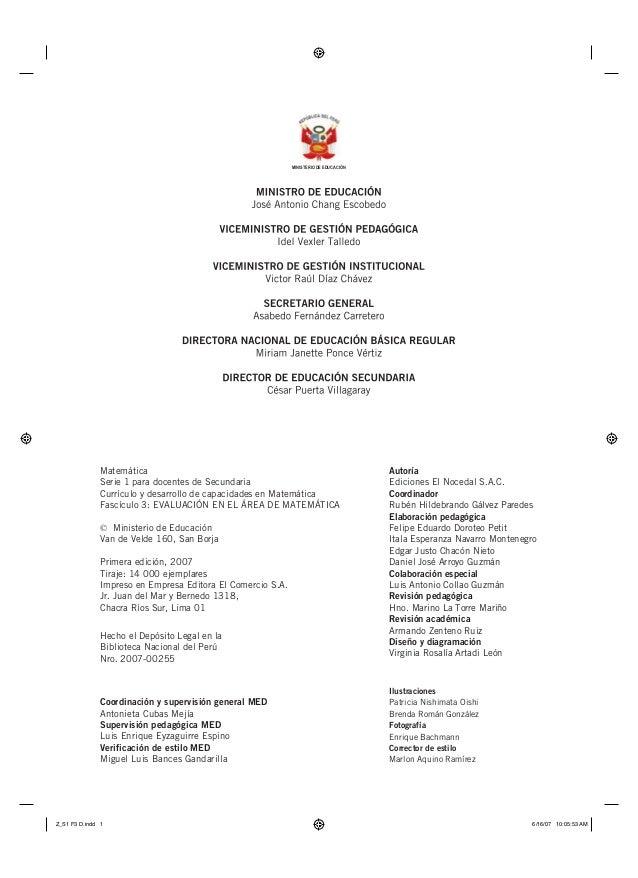 MINISTERIO DE EDUCACIÓN  Matemática Serie 1 para docentes de Secundaria Currículo y desarrollo de capacidades en Matemátic...