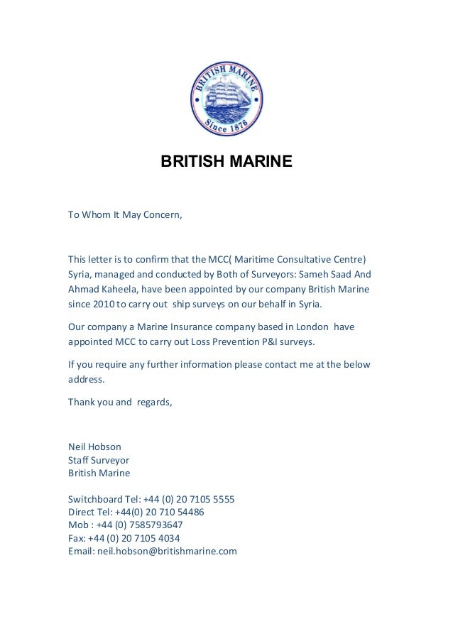BRITISH MARINE To Whom It May Concern This Letter Is Confirm That The MCC