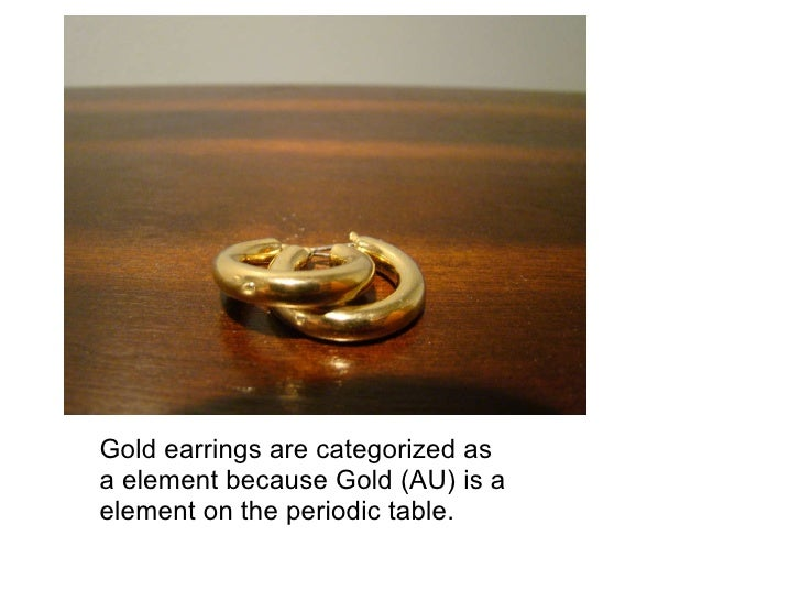 Gold Earrings Gold earrings are categorized as a element because Gold (AU) is a element on the periodic table.
