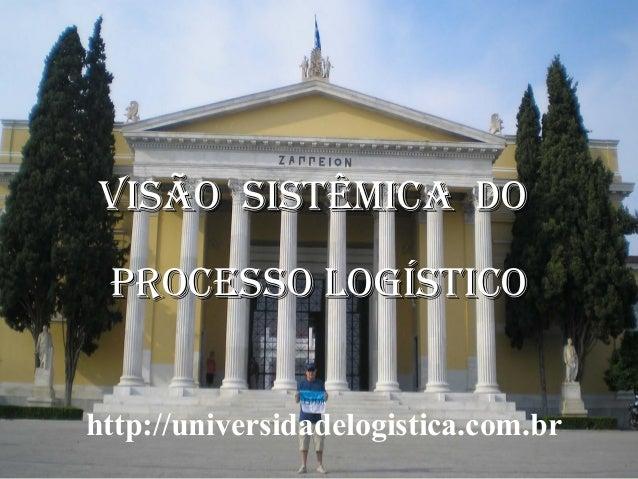 VISÃO SISTÊMICA DO PROCESSO LOGÍSTICO http://universidadelogistica.com.br PROF. Ms. DELANO CHAVES  1