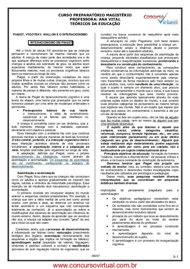 CURSO PREPARATÓRIO MAGISTÉRIO PROFESSORA: ANA VITAL TEÓRICOS DA EDUCAÇÃO A-1000/07 PIAGET, VYGOTSKY, WALLON E O INTERACION...