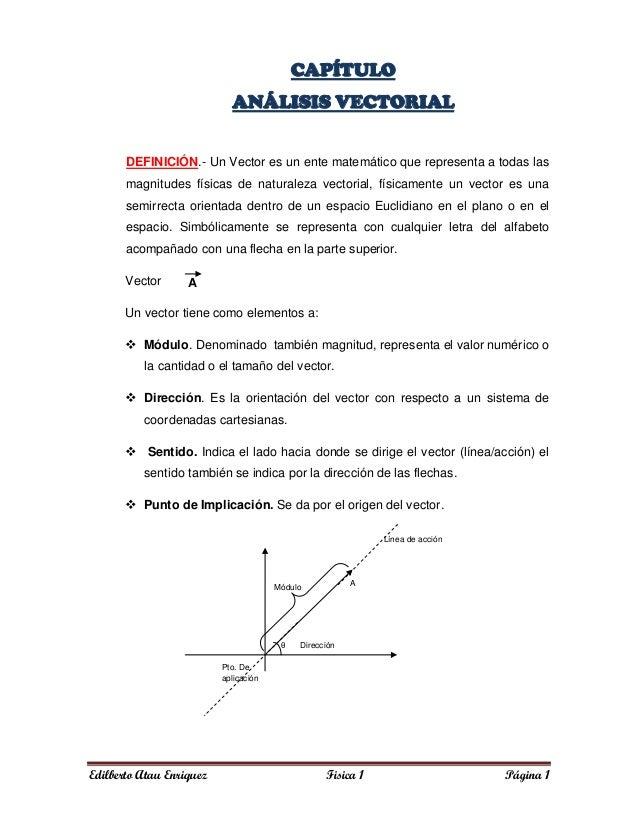 Edilberto Atau Enriquez Fisica 1 Página 1CAPÍTULOANÁLISIS VECTORIALDEFINICIÓN.- Un Vector es un ente matemático que repres...