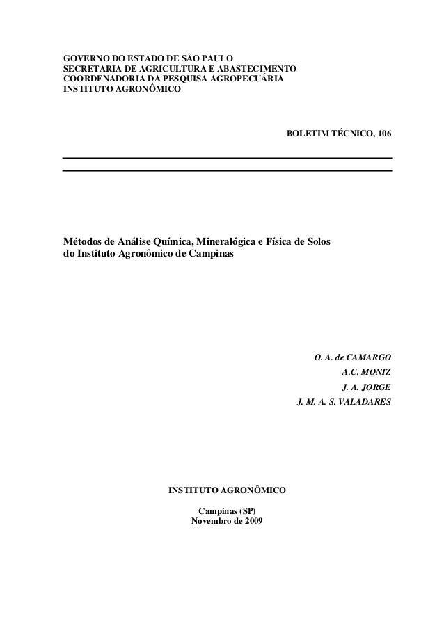 GOVERNO DO ESTADO DE SÃO PAULOSECRETARIA DE AGRICULTURA E ABASTECIMENTOCOORDENADORIA DA PESQUISA AGROPECUÁRIAINSTITUTO AGR...