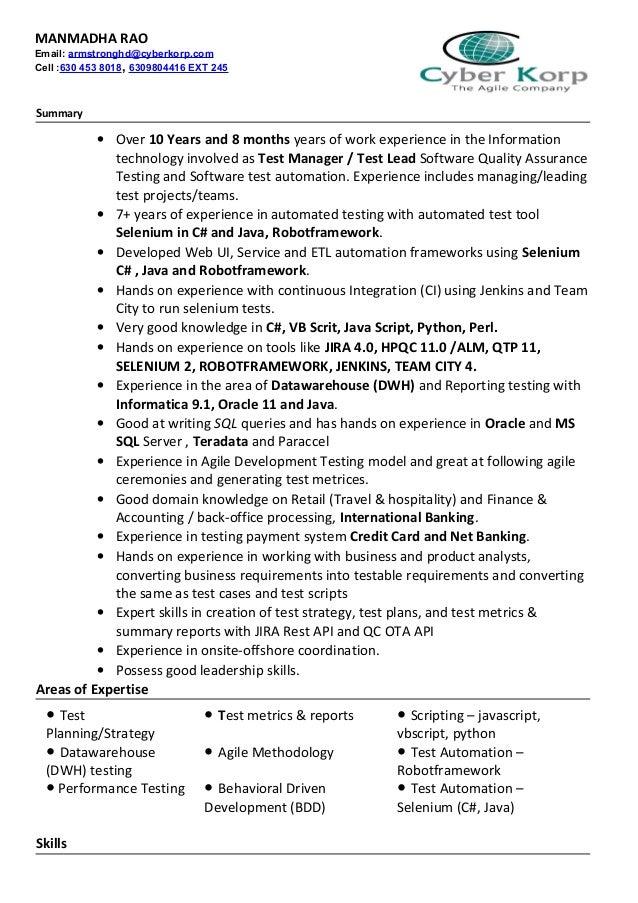 agile qa resume - Zoray.ayodhya.co