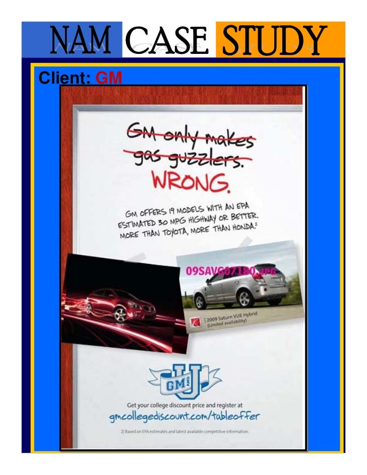 General Motors (GM) Table Tents Case Study - NAM Youth College Market…