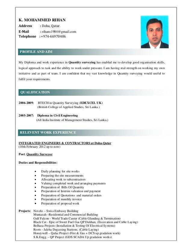 K. MOHAMMED RIHAN  Address :Doha,Qatar. E‐Mail:rihans1984@gmail.com Telephone:+974‐66970406 My...