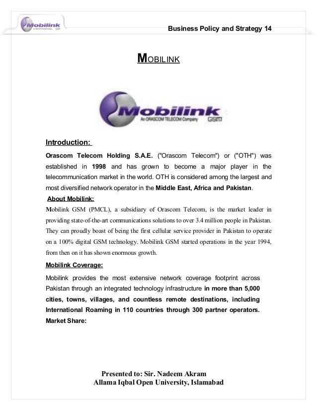 a report on mobilink Mobilink gsm pakistan: an mba report contents mobilink, the company  company profile 1 mission 5 swot analysis 7 scope of this.