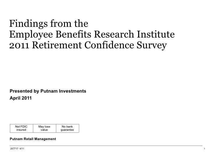 Findings from the Employee Benefits Research Institute 2011 Retirement Confidence Survey Presented by Putnam Investments A...