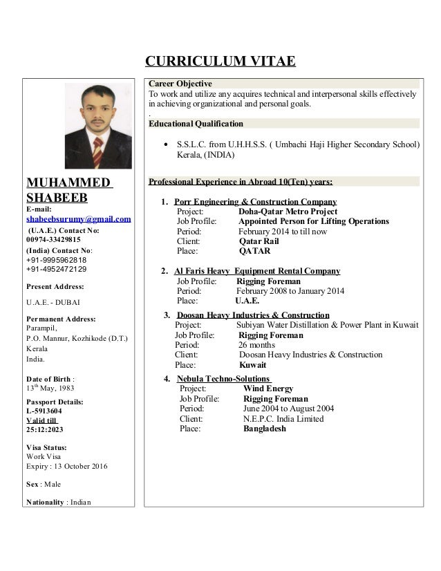 Rigging foreman resume