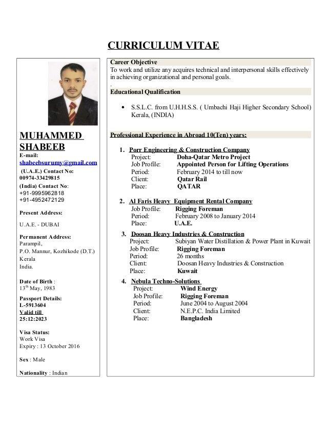 shabeeb rigging supervisor c v