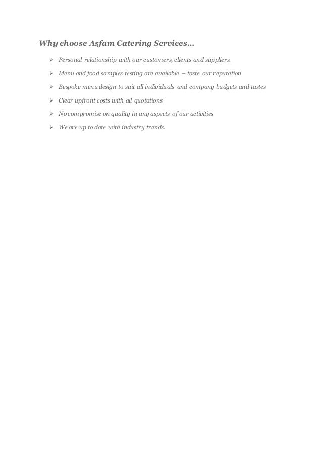 ASFAM CATERING SERVICES BUSINESS PROPOSAL