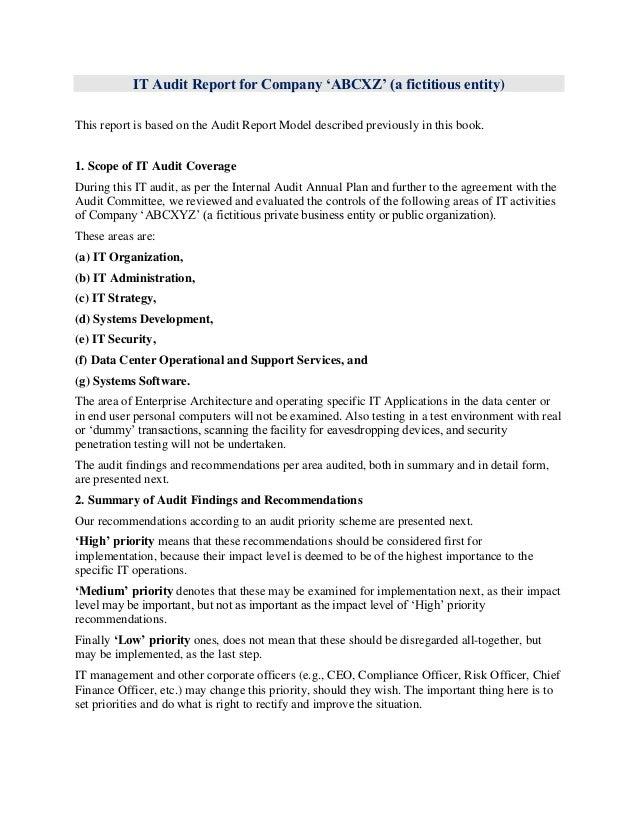 External Audit Report Template. It Audit Report Model And Sample