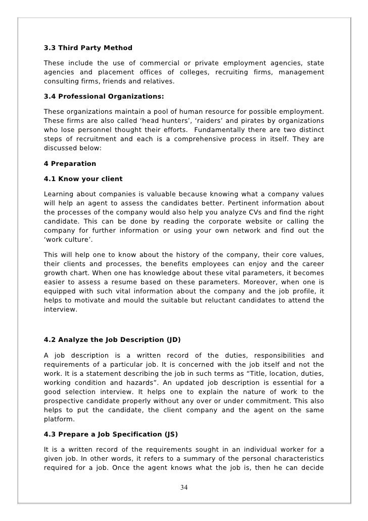sample report on recruitment and selection Hiring policy: recruitment and selection process  the hr department will  assign a requisition number to assist in tracking and reporting.