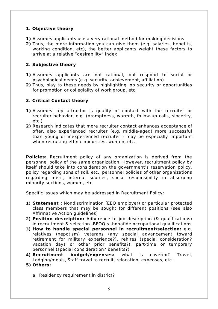 project report on recruitment and selection Aim of the paper is to study the recruitment and selection process followed at sai   this research studies the review of literature for recruitment and selection.