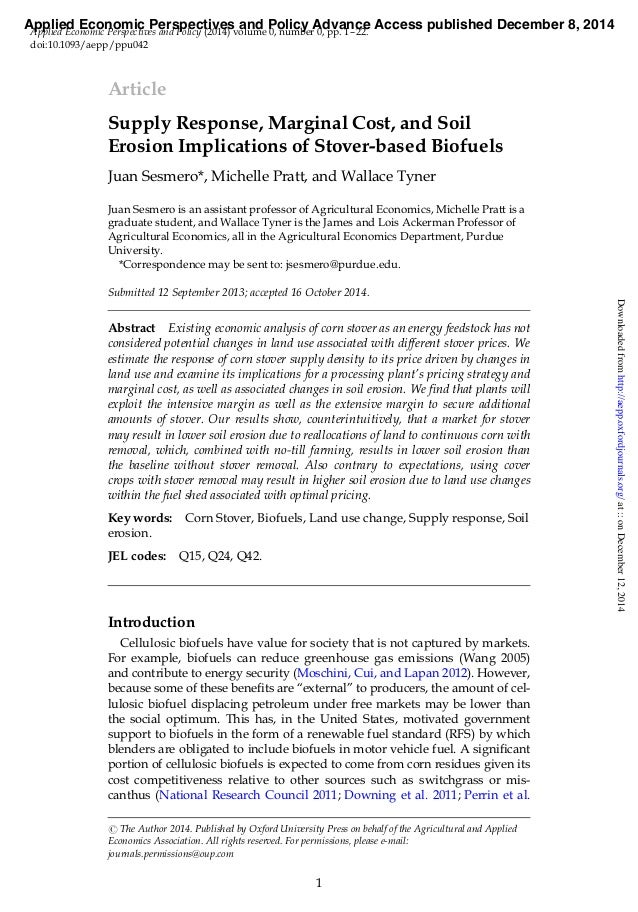 Article Supply Response, Marginal Cost, and Soil Erosion Implications of Stover-based Biofuels Juan Sesmero*, Michelle Pra...