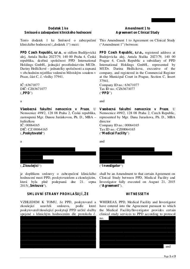 Page 1 of 3 BMS CA209172 Dodatek 1 ke Smlouvě o zabezpečení klinického hodnocení Amendment 1 to Agreement on Clinical Stud...