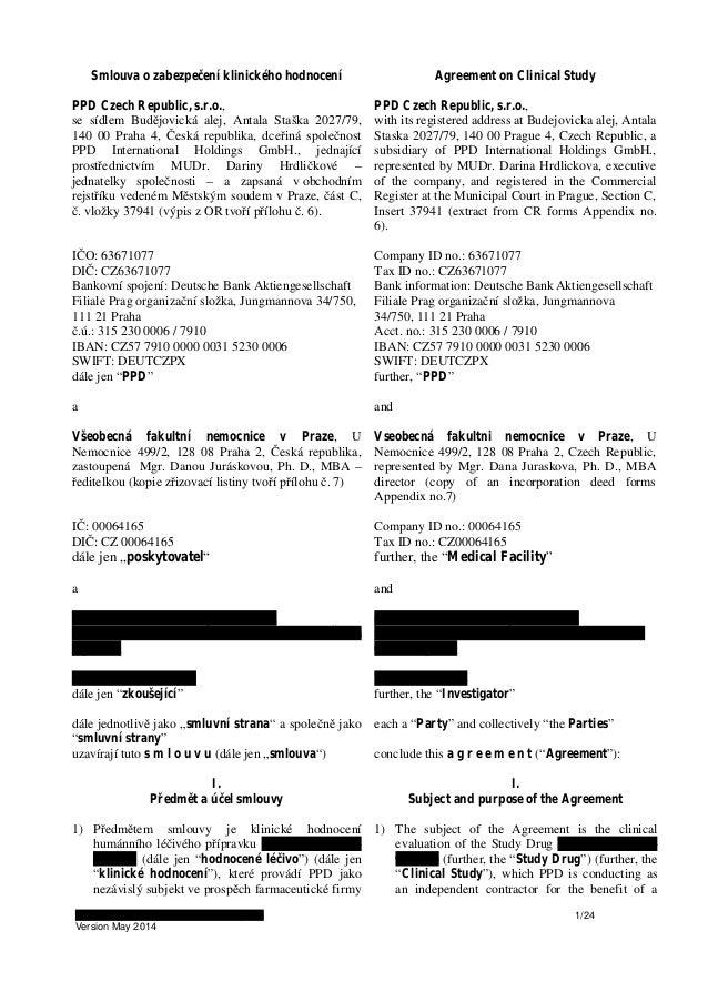 CA209172 – 3-way CTA - Site PI Krajsova 1/24 Version May 2014 Smlouva o zabezpečení klinického hodnocení Agreement on Clin...