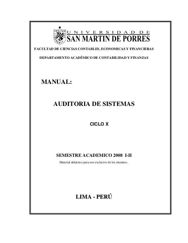 FACULTAD DE CIENCIAS CONTABLES, ECONOMICAS Y FINANCIERAS DEPARTAMENTO ACADÉMICO DE CONTABILIDAD Y FINANZAS MANUAL: AUDITOR...