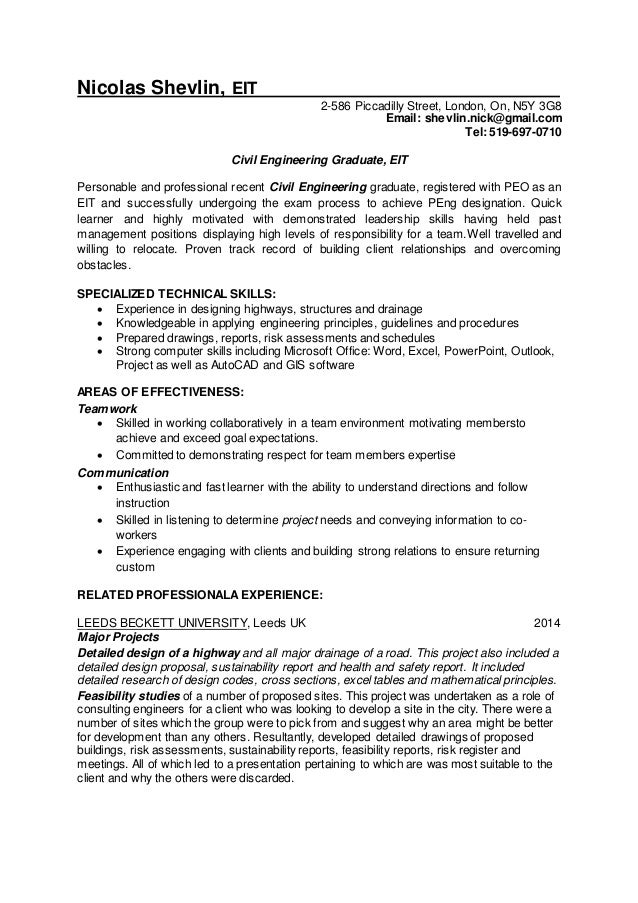 aaaNicolas Shevlin Civil Engineer EIT resume
