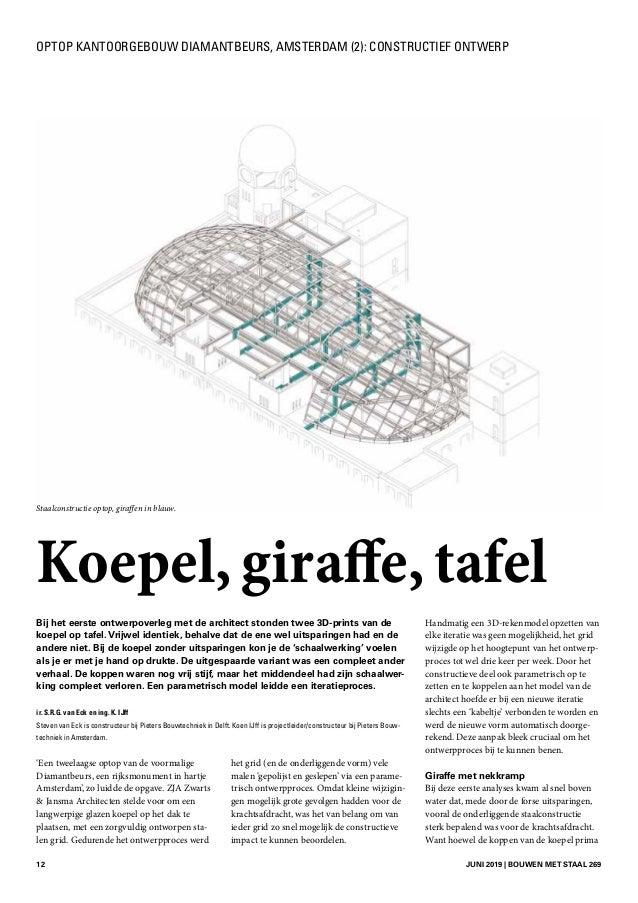 12 JUNI 2019 | BOUWEN MET STAAL 269 Bij het eerste ontwerpoverleg met de architect stonden twee 3D-prints van de koepel o...