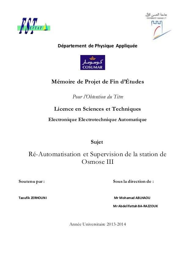 Département de Physique Appliquée Mémoire de Projet de Fin d'Études Pour l'Obtention du Titre Licence en Sciences et Techn...