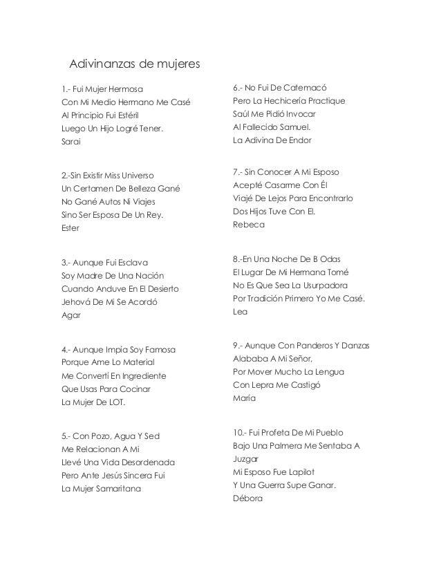 26 Adivinanzas Biblicas De Mujeres