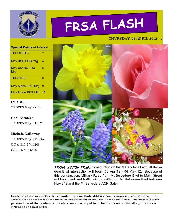 FRSA FLASH                                                                  THURSDAY, 26 APRIL 2012               .Special...