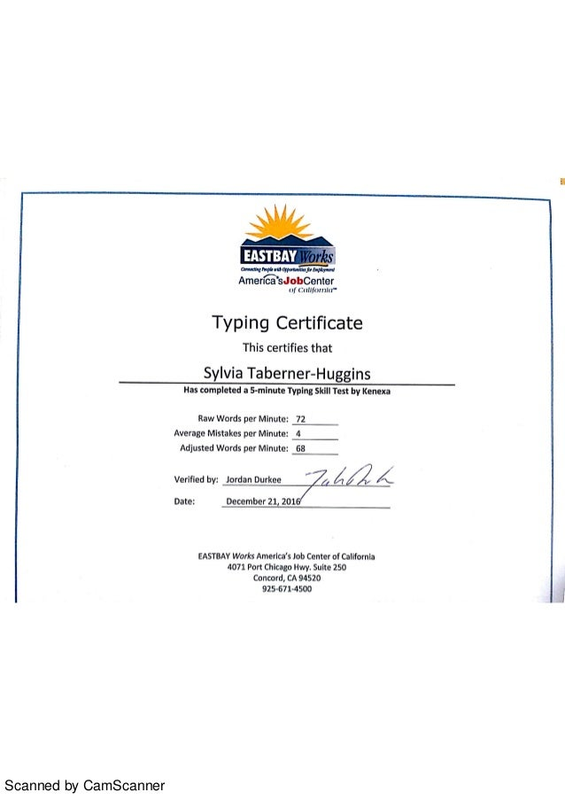 Typing Certificate 12 21 2016