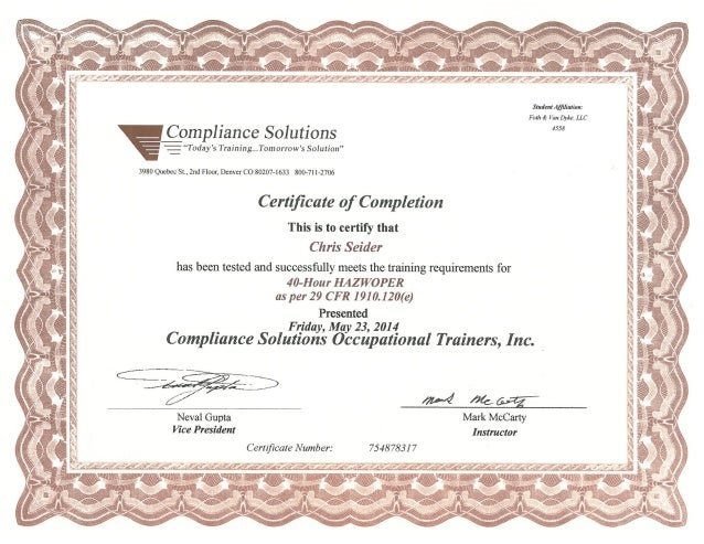 seider hazwoper 40 hour certificate