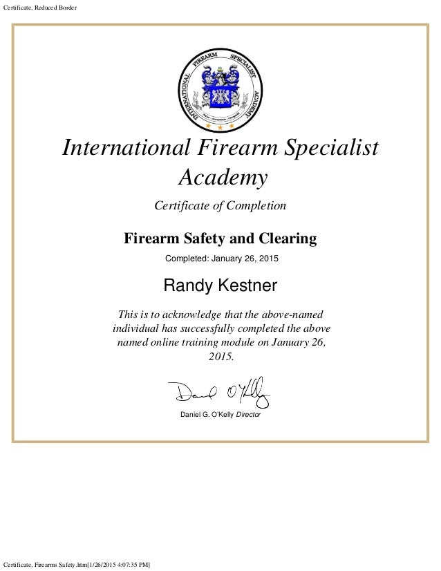 Certificate Firearms Safety