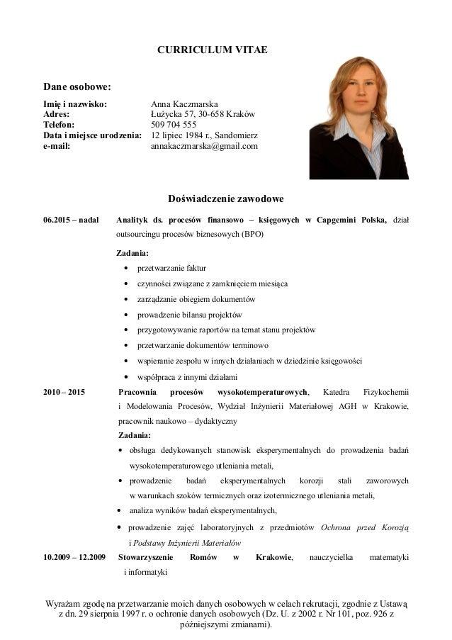 curriculum vitae ochrona danych