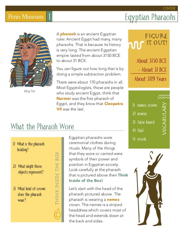 Egyptian Pharaohs1 A pharaoh is an ancient Egyptian ruler. Ancient Egypt had many, many pharaohs. That is because its hist...