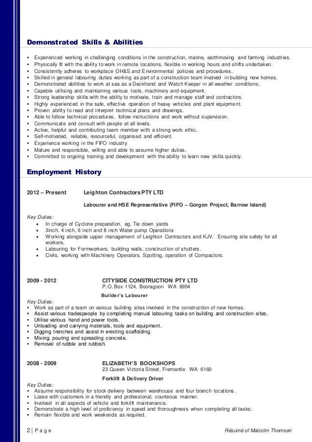 construction resume skills