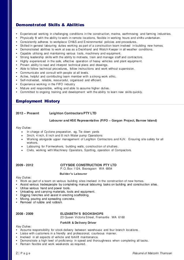 Construction Resume Skills And Abilities. general resume examples ...