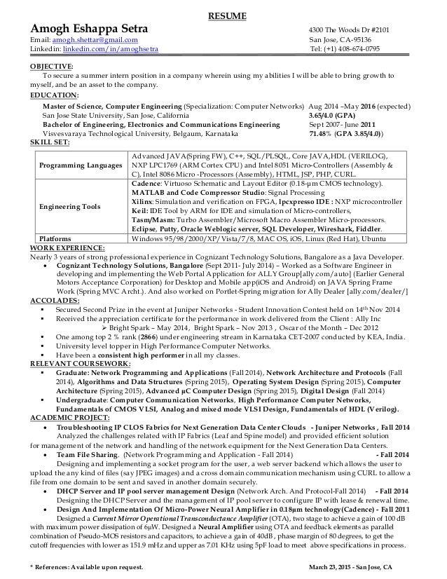 RESUME Amogh Eshappa Setra 4300 The Woods Dr #2101 Email: amogh.shettar@gmail.com San Jose, CA-95136 Linkedin: linkedin.co...