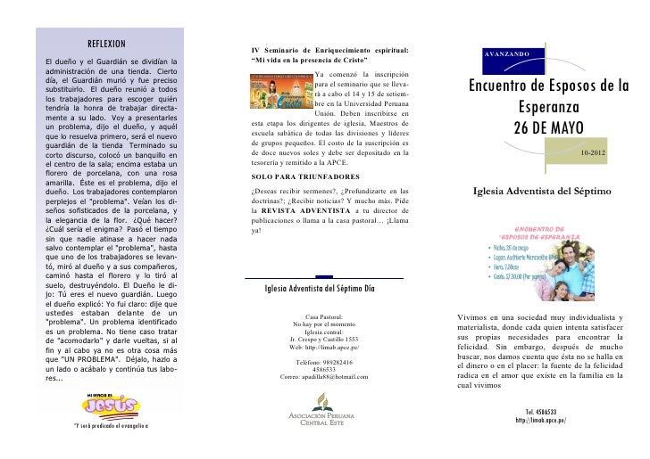 REFLEXION                     IV Seminario de Enriquecimiento espiritual:                    AVANZANDOEl dueño y el Guardi...