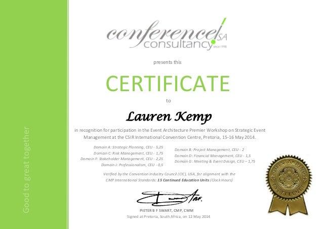 Event Architecture Premier CEU Certificate - L Kemp